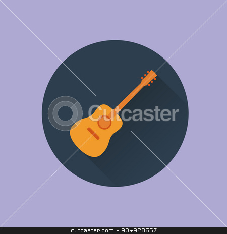 Vector illustration icon guitar flat stock vector clipart, Vector illustration icon guitar flat. Stock vector by Amelisk