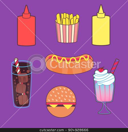 Vector illustration set of food stock vector clipart, Vector illustration set of food. Stock vector by Amelisk