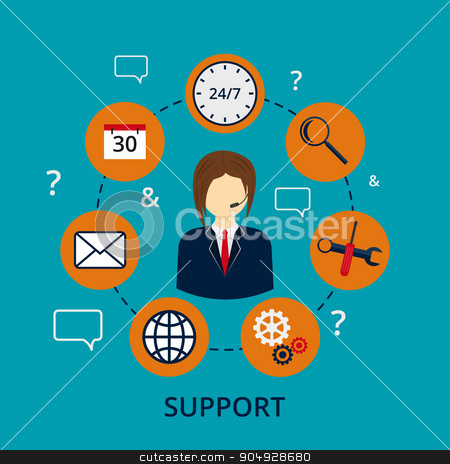 Vector illustration of a call center stock vector clipart, Vector illustration of a call center . A man in a jacket . Set of business icons technical support to users. by Amelisk