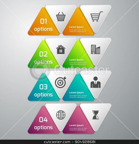 Vector illustration of infographics 4 options stock vector clipart, Vector illustration of business infographics 4 options . paper triangles. by Amelisk