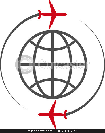 Vector illustration of icon plane and the globe stock vector clipart, Vector illustration of icon plane and the globe. by Amelisk