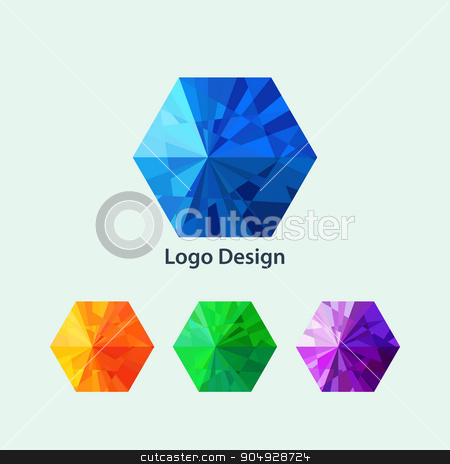 Vector illustration of a hexagon logo stock vector clipart, Vector illustration of a hexagon logo. Stock vector by Amelisk