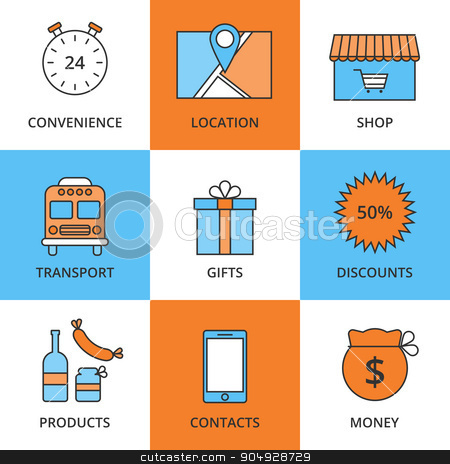 Stock Vector Linear icon Store stock vector clipart, Stock Vector Linear icon Store. Stock vector by Amelisk