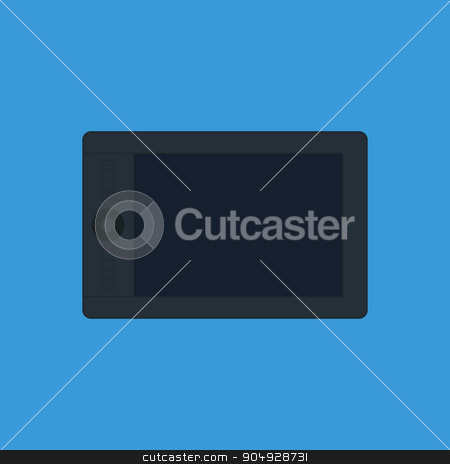 Vector illustration of graphic tablet stock vector clipart, Vector illustration of graphic tablet on a blue background. by Amelisk