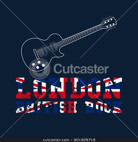 London british rock typography stock vector clipart, London british rock typography, t-shirt graphics. vector illustration. by Amelisk