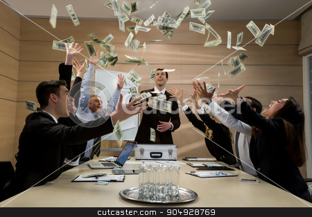 Businessmen scatter the dollars. stock photo, Businessmen scatter the dollars. Managers celebrate success. Successful business. by Denys