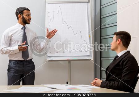 Business training. stock photo, Teacher teaches the student.Business training.  Business people. by Denys