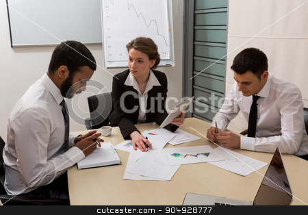 Boss scolds the manager. stock photo, Boss scolds the manager for not doing the work. Office life. by Denys
