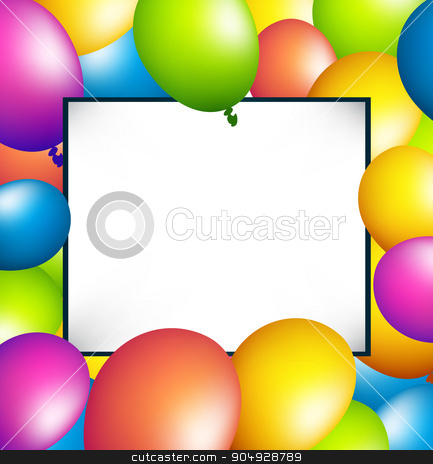 balloons party color full with white blank banner on blue backgr stock vector clipart, balloons party color full with white blank banner on blue background by Khanong Wiboolkul