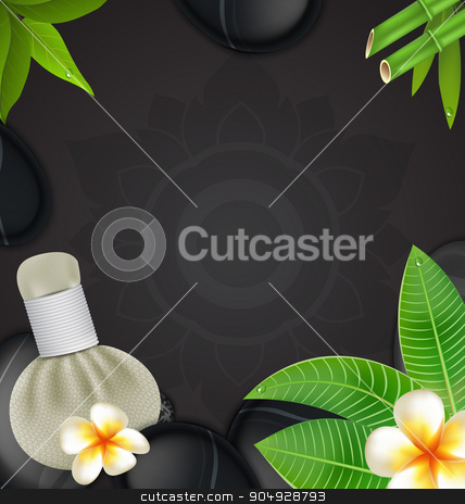 Thai herbs spa with compress herbs natural background stock vector clipart, Thai herbs massage spa with compress herbs natural background by Khanong Wiboolkul