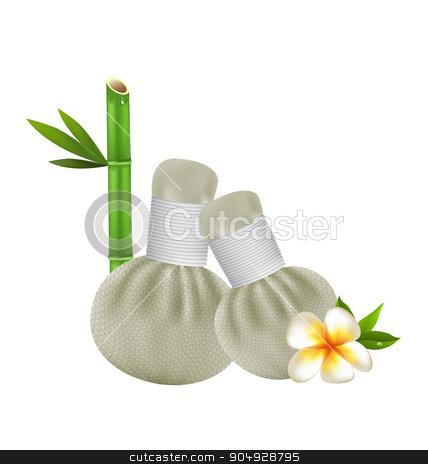 Thai herbs compress spa vector design stock vector clipart, Thai herbs compress massage spa vector design by Khanong Wiboolkul