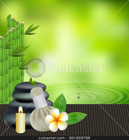 Print stock vector clipart, Thai herbs massage spa with compress herbs natural background by Khanong Wiboolkul