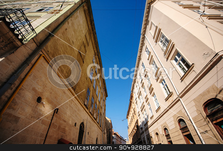 Old house, building, castle vintage brick and stone stock photo, Old house, building, castle vintage brick and stone, view from the bottom, Lviv, Ukraine by timonko
