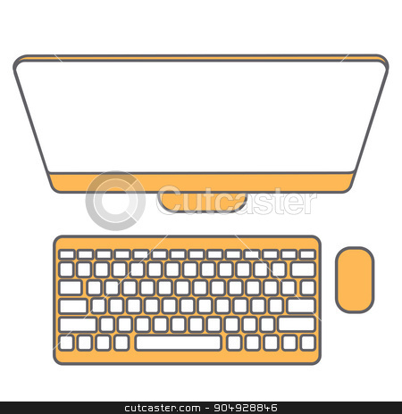 Abstract Creative concept vector background. Line icons flat design elements. Modern vector Illustration pictogram of computer stock vector clipart, Abstract Creative concept vector background. Line icons flat design elements. Modern vector Illustration pictogram of computer by Vladimir Khapaev