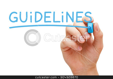 Guidelines Blue Marker stock photo, Hand writing Guidelines with blue marker on transparent wipe board. by Ivelin Radkov