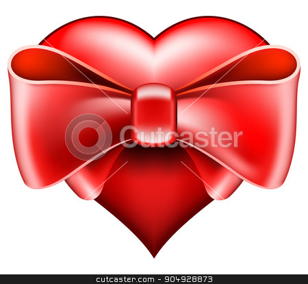Heart with big bow stock vector clipart, Red heart with big bow for valentines day by zybr78