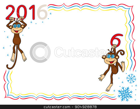 Greeting card with two Amusing Monkeys stock vector clipart, Greeting card with two Amusing Monkeys and inscription 2016, cartoon vector artwork on the winter background with frame and snowflakes by Nataliia
