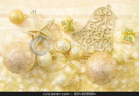 Golden Christmas background stock photo, Golden Christmas background with bokeh light. by Miss. PENCHAN  PUMILA
