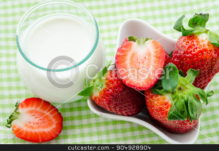 Fresh Strawberries and milk drink . stock photo, Fresh Strawberries and milk drink on tablecloth background. by Miss. PENCHAN  PUMILA