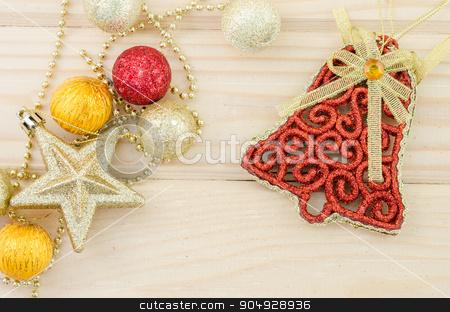 Christmas decoration on wood. stock photo, Christmas decoration on wood background. by Miss. PENCHAN  PUMILA