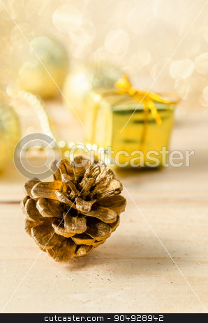 Gold Christmas background stock photo, Gold Christmas decorations with light bokeh background. by Miss. PENCHAN  PUMILA