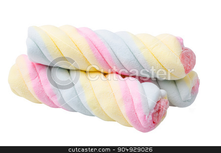 Twisted marshmallow. stock photo, Twisted marshmallow isolated on white background. by Miss. PENCHAN  PUMILA