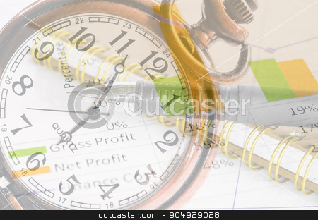 Business time concept. stock photo, Clock and market report graph with document. Business time concept. by Miss. PENCHAN  PUMILA