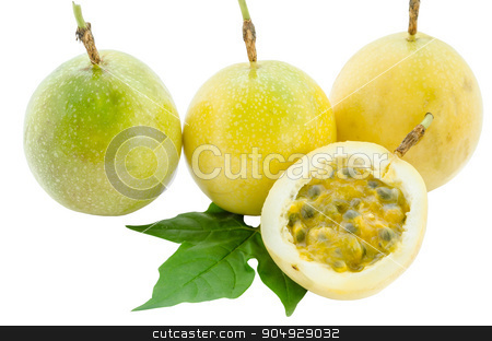 Maracuja, passion fruit. stock photo, Maracuja, passion fruit and green leaf on white background. by Miss. PENCHAN  PUMILA