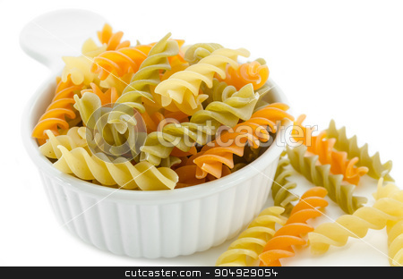 dried italian pasta (macaroni) in white bowl. stock photo, dried italian pasta (macaroni) in white bowl on white background. by Miss. PENCHAN  PUMILA