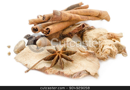 Various spices on a white. stock photo, Various spices on a white background by Miss. PENCHAN  PUMILA