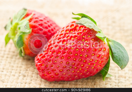 Ripe red strawberries  stock photo, Ripe red strawberries on sack background. by Miss. PENCHAN  PUMILA