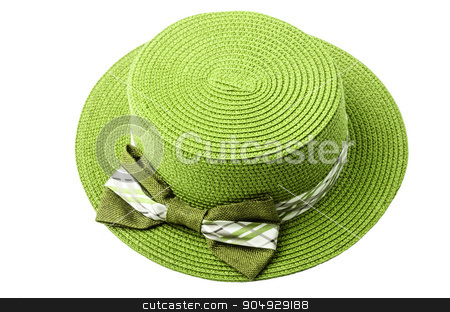 Straw green hat. stock photo, Straw green hat isolated on white background. by Miss. PENCHAN  PUMILA