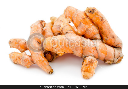 Turmeric. stock photo, Turmeric on white background by Miss. PENCHAN  PUMILA