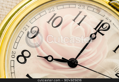 Composite of pink Roses and Clock. stock photo, Composite of pink Roses and Clock. Love concept. by Miss. PENCHAN  PUMILA