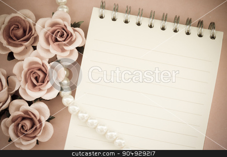 Blank note diary with rose. stock photo, Blank note diary with rose vintage style. by Miss. PENCHAN  PUMILA