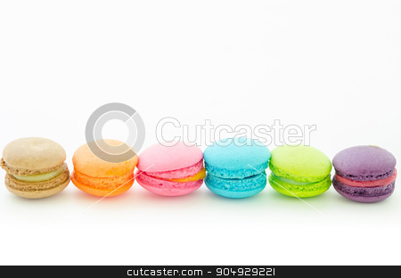 Colorful macaroons on white. stock photo, Colorful macaroons on white background. by Miss. PENCHAN  PUMILA