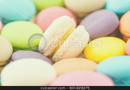 macaroons stock photo, Group of pastel color macaroons. by Miss. PENCHAN  PUMILA