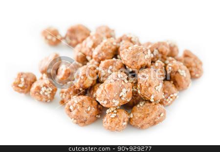 Honey roasted coated peanuts and white sesame seeds. stock photo, Honey roasted coated peanuts and white sesame seeds on white background. by Miss. PENCHAN  PUMILA
