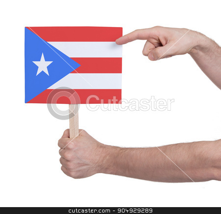 Hand holding small card - Flag of Puerto Rico stock photo, Hand holding small card, isolated on white - Flag of Puerto Rico by michaklootwijk