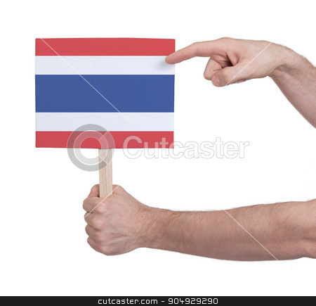 Hand holding small card - Flag of Thailand stock photo, Hand holding small card, isolated on white - Flag of Thailand by michaklootwijk
