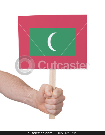 Hand holding small card - Flag of Maldives stock photo, Hand holding small card, isolated on white - Flag of Maldives by michaklootwijk