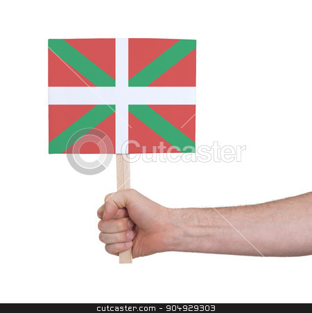 Hand holding small card - Flag of Basque Country stock photo, Hand holding small card, isolated on white - Flag of Basque Country by michaklootwijk
