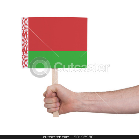 Hand holding small card - Flag of Belarus stock photo, Hand holding small card, isolated on white - Flag of Belarus by michaklootwijk