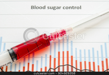 Sample blood for screening diabetic test in blood tube. stock photo, Sample blood for screening diabetic test in blood tube on blood sugar control chart. by Miss. PENCHAN  PUMILA
