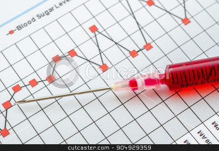 Sample blood for screening diabetic test in syringe. stock photo, Sample blood for screening diabetic test in syringe on blood sugar control chart.  by Miss. PENCHAN  PUMILA