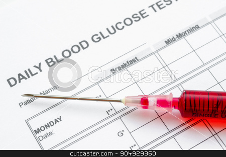Daily blood glucose testing and sample bloodin syringe. stock photo, Daily blood glucose testing and sample bloodin syringe. Blood sugar control concept. by Miss. PENCHAN  PUMILA