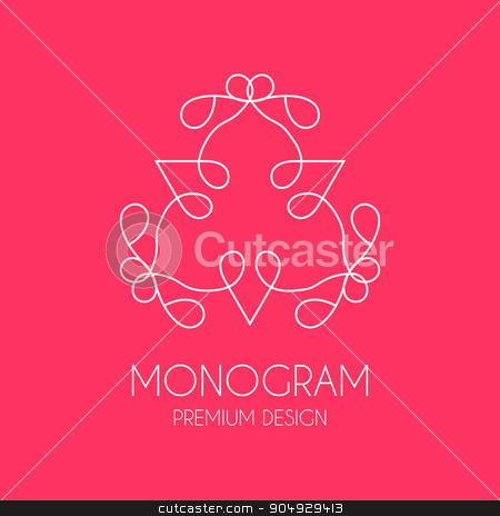 Simple  monogram design template stock vector clipart, Simple  monogram design template, Elegant line art logo design, vector illustration. stock vector. by Amelisk