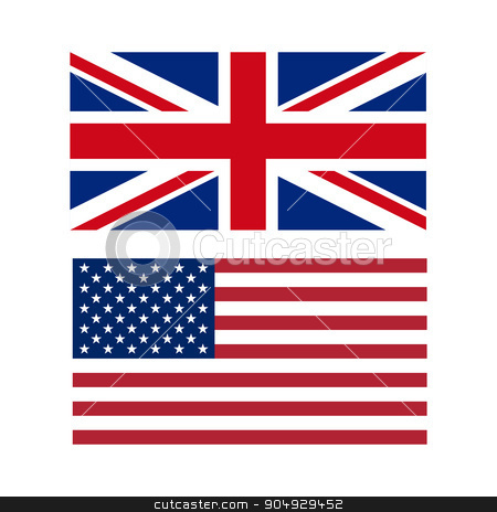 Vector illustration of flags the US and UK stock vector clipart, Vector illustration of flags of the US and UK. by Amelisk