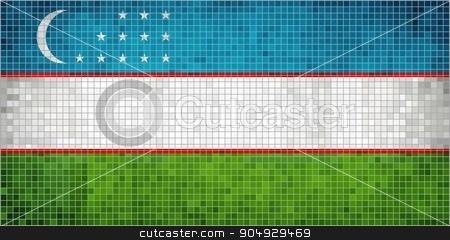 Flag of Uzbekistan stock vector clipart, Flag of Uzbekistan - Illustration,  Abstract Mosaic of Uzbekistan flag,  Grunge Uzbekistan Flag,  Abstract grunge mosaic vector by Jugoslav