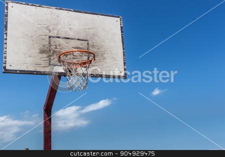 The backboard basketball stock photo, Baskeball hoop on a sunny day. by Alfredo Steccanella